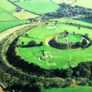 Het oud heuvelfort Old Sarum in Salisbury, Zuid Engeland